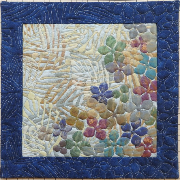 Painted quilt using a stencil technique 50X50 cm.