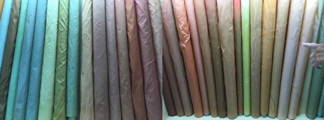 The solid color one-ply silks are 350 baht per meter ($10 a yard)